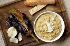 Fresh eggplant dip with tomatoes and onion