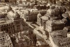 Vedere aeriană cu Biserica Zlătari, Poșta și Palatul CEC - București, 1938
