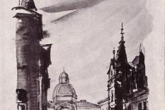 Palatul CEC și Caru'cu bere (în dreapta) - desen de A. Dimboianu