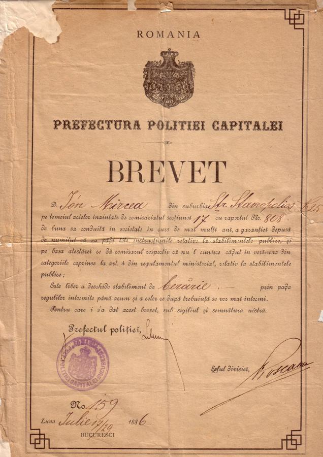 Brevet berar Ion Mircea - 1886