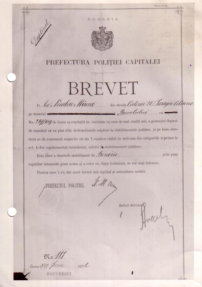 Brevet Nicolae Mircea - 1892