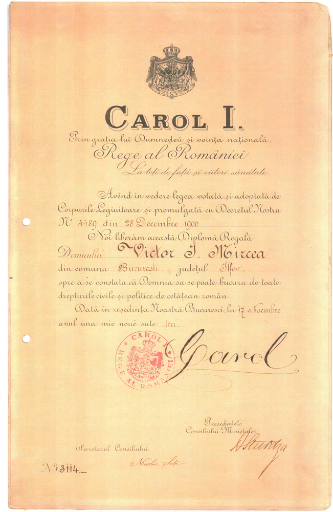 Royal citizenship certificate for Victor Mircea - 1900