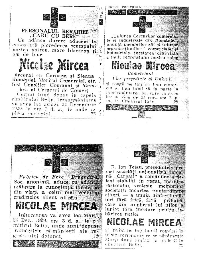 Funeral Announcement - Nicolae MIRCEA