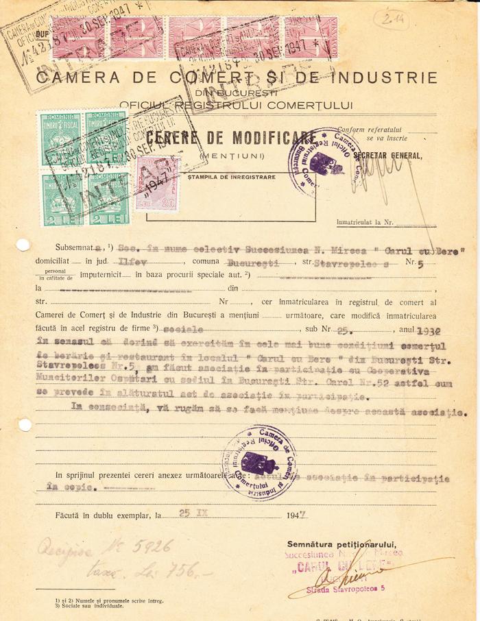 Notificare asociere Cooperativa Ospătari - 1947