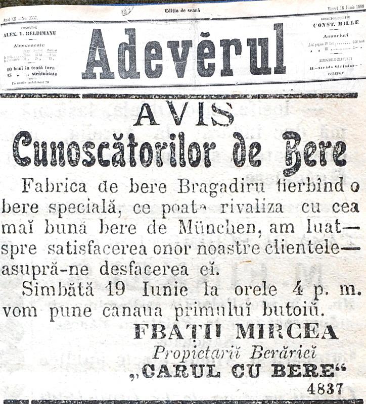 Anunt ziarul Adevarul - 18 Iunie 1899
