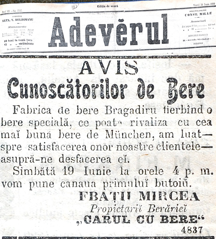 """Adevarul"" newspaper - 18th of June 1899"